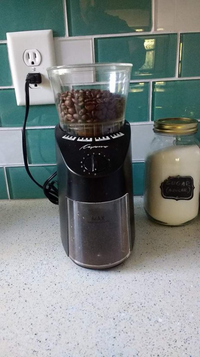 My Capresso burr grinder. Burr grinders are the best way to produce consistent sized grounds and maximum flavor, but any form of grinding is generally better than buying your coffee ready ground if you desire a full taste.