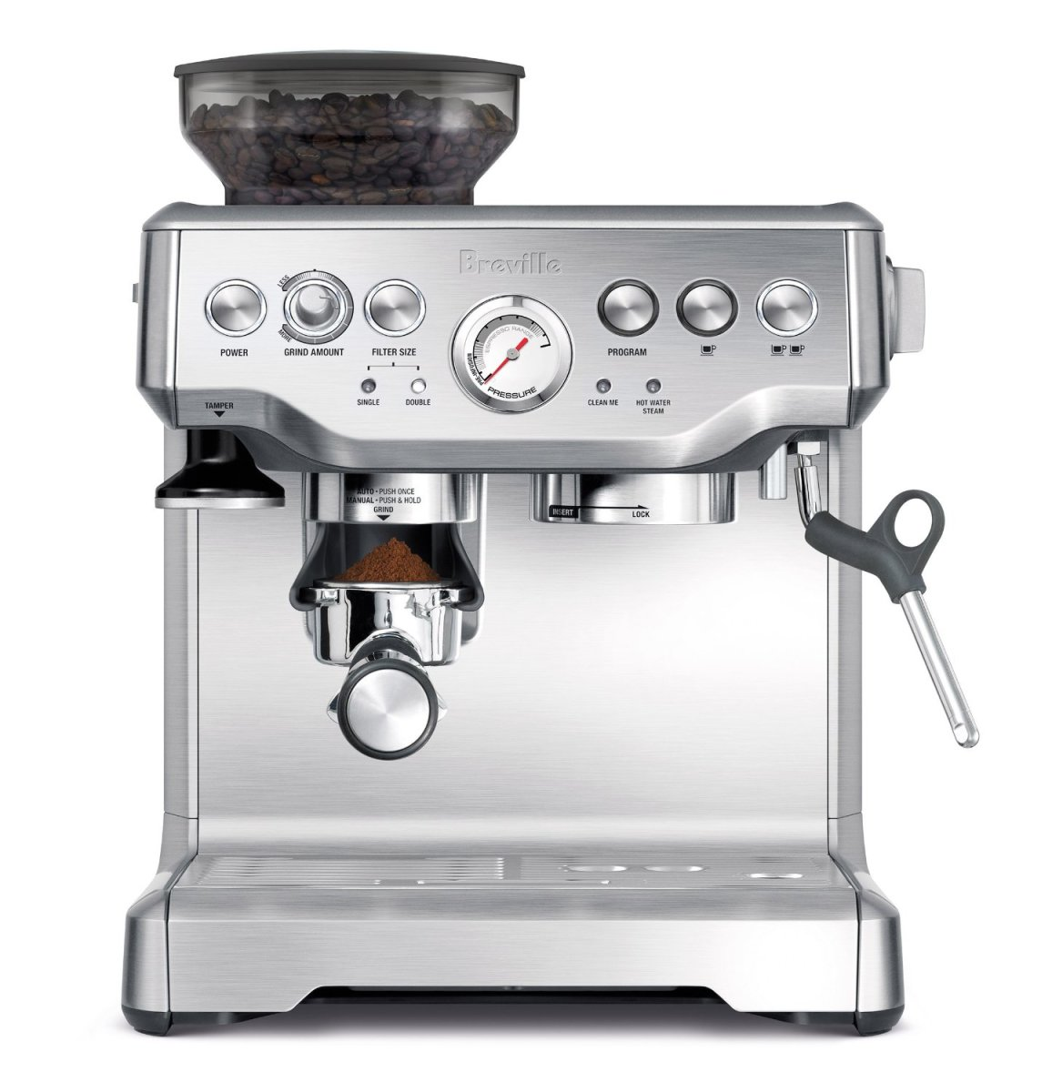The Breville Barista Express Espresso Machine. Constructed from stainless steel, it's easy to clean, attractive, solid and durable.  It's not the cheapest grind and brew espresso machine out there, but worth every penny in my opinion and experience.