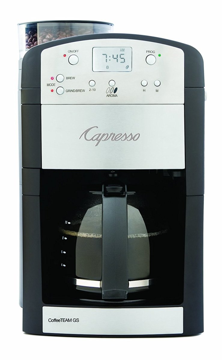 The Capresso 464.05 CoffeeTeam GS 10-Cup is a nice machine for the mid-price range. Fully programmable, it's easy to use and clean. There is a 2 hour shut off for safety. There are 5 grind settings and you can brew from 2 to 10 cups of coffee.
