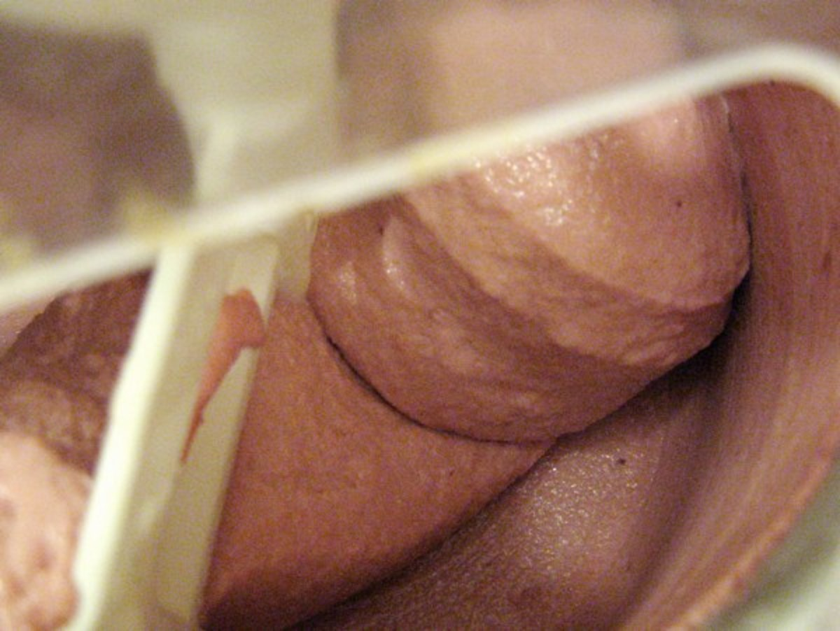 After about 20 minutes of freezing, the raspberry mixture will start to look like soft-serve ice cream.