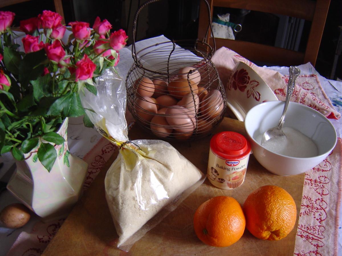 Ingredients for orange and almond cake dessert