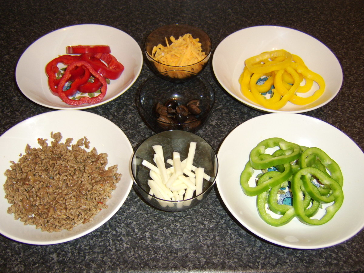 Pizza toppings ready for use
