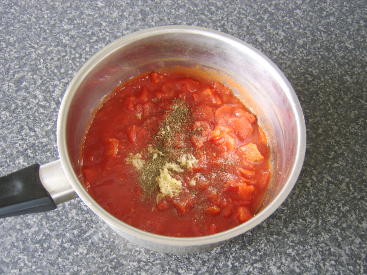 Preparing the homemade pizza sauce