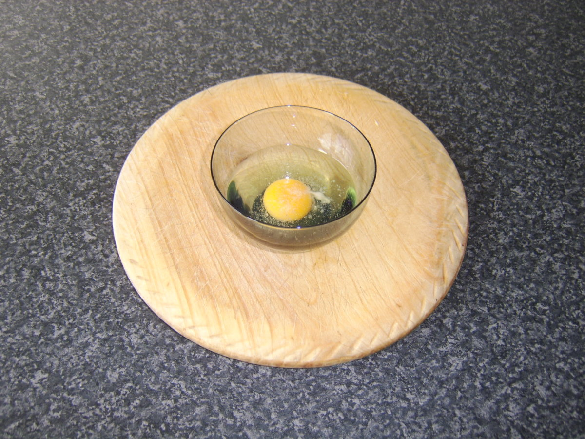Break the egg firstly in to a small cup or bowl