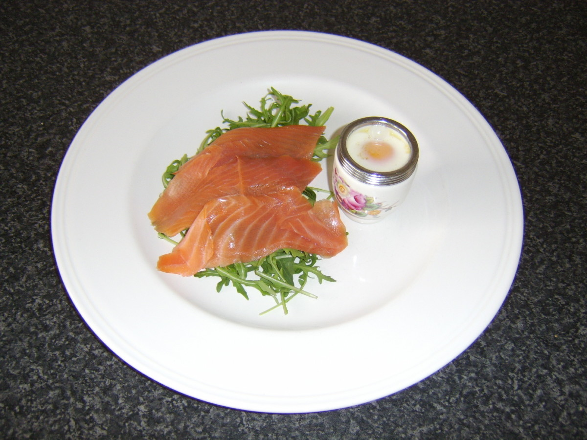 Coddled egg with oak smoked Scottish salmon salad