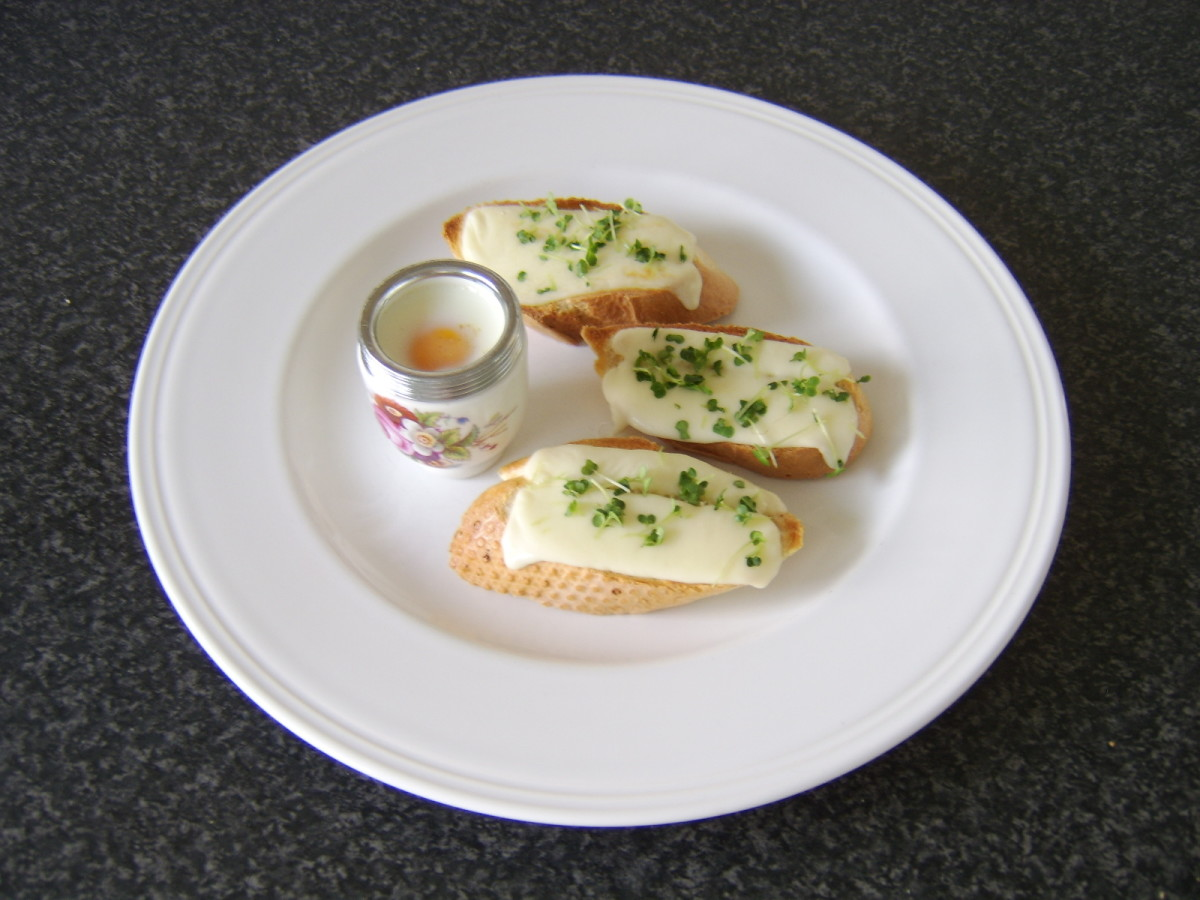 Coddled egg with mozzarella toasted wedges and fresh cress