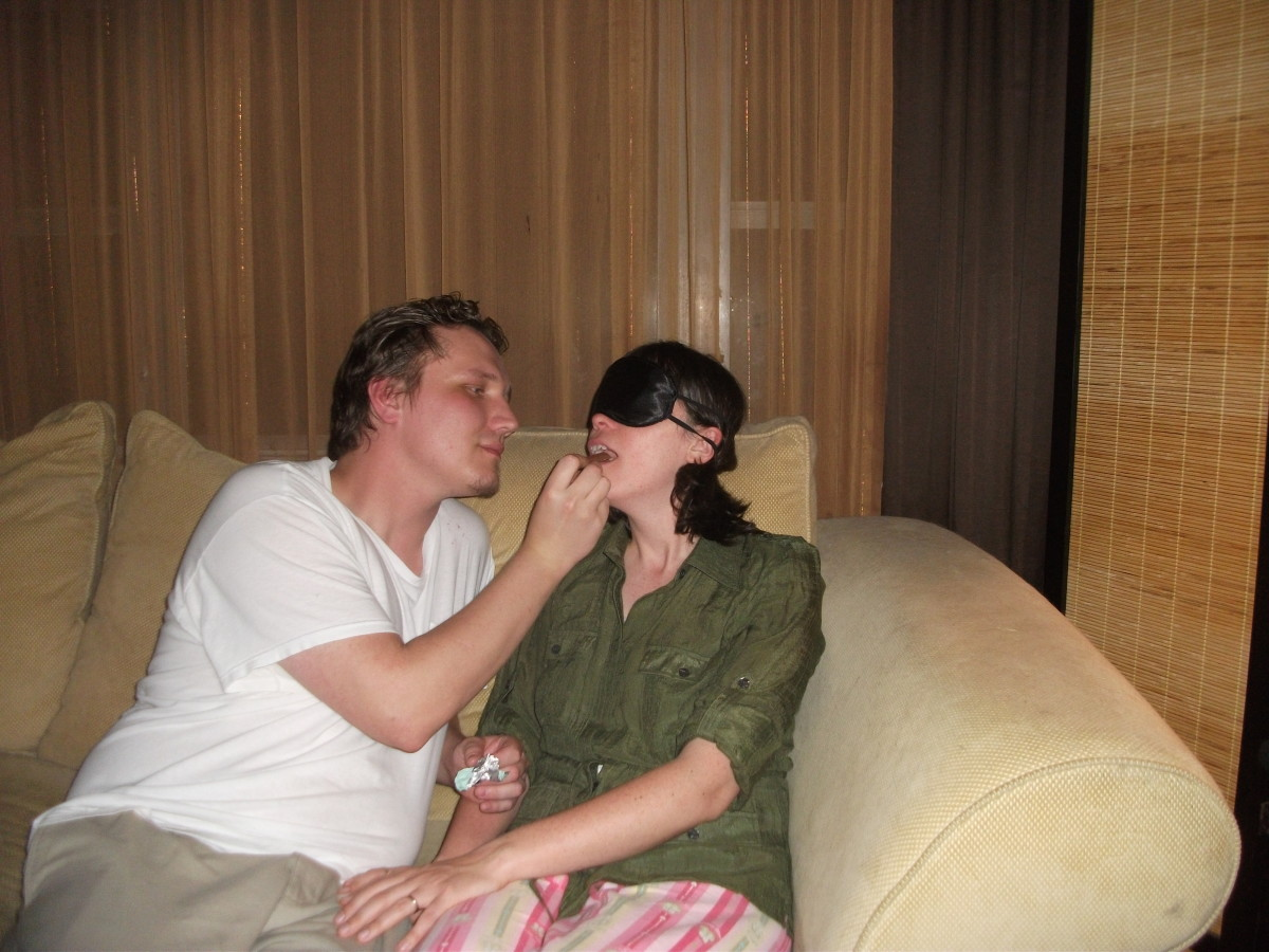 A night sitting on the couch can turn romantic with a blindfold taste test.