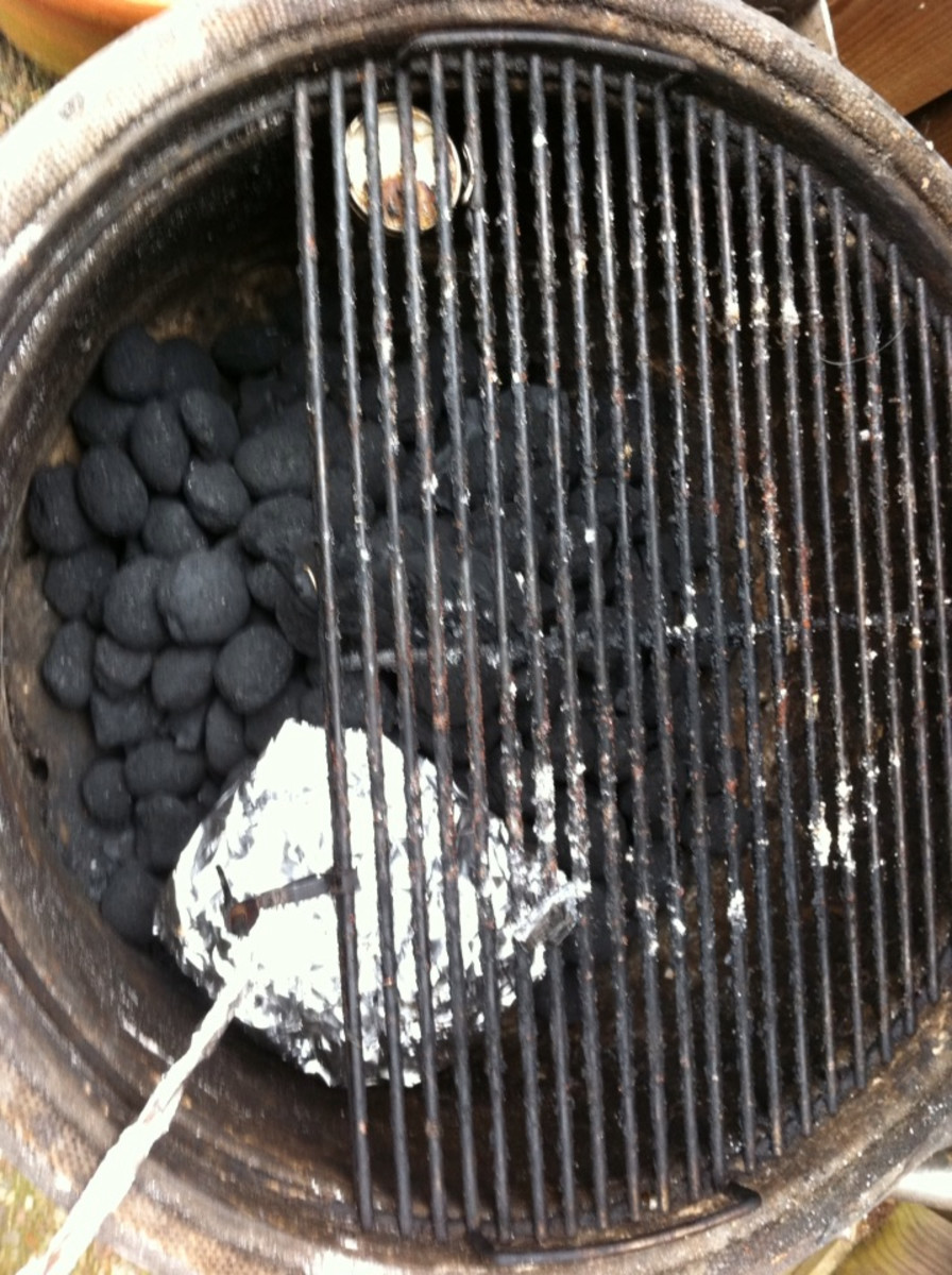 Put the chips on the side of the charcoal