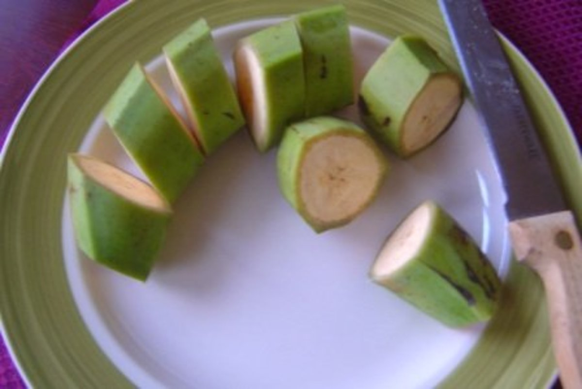 Image 1 - Start by cutting open the plantain (green or ripe). Cut across into small thin sizes.