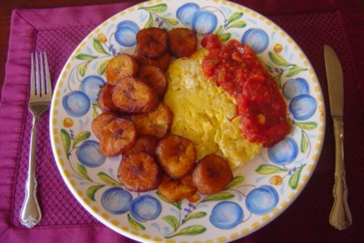 Fried plantains with scrambled eggs and salsa is one of my favorite breakfasts.