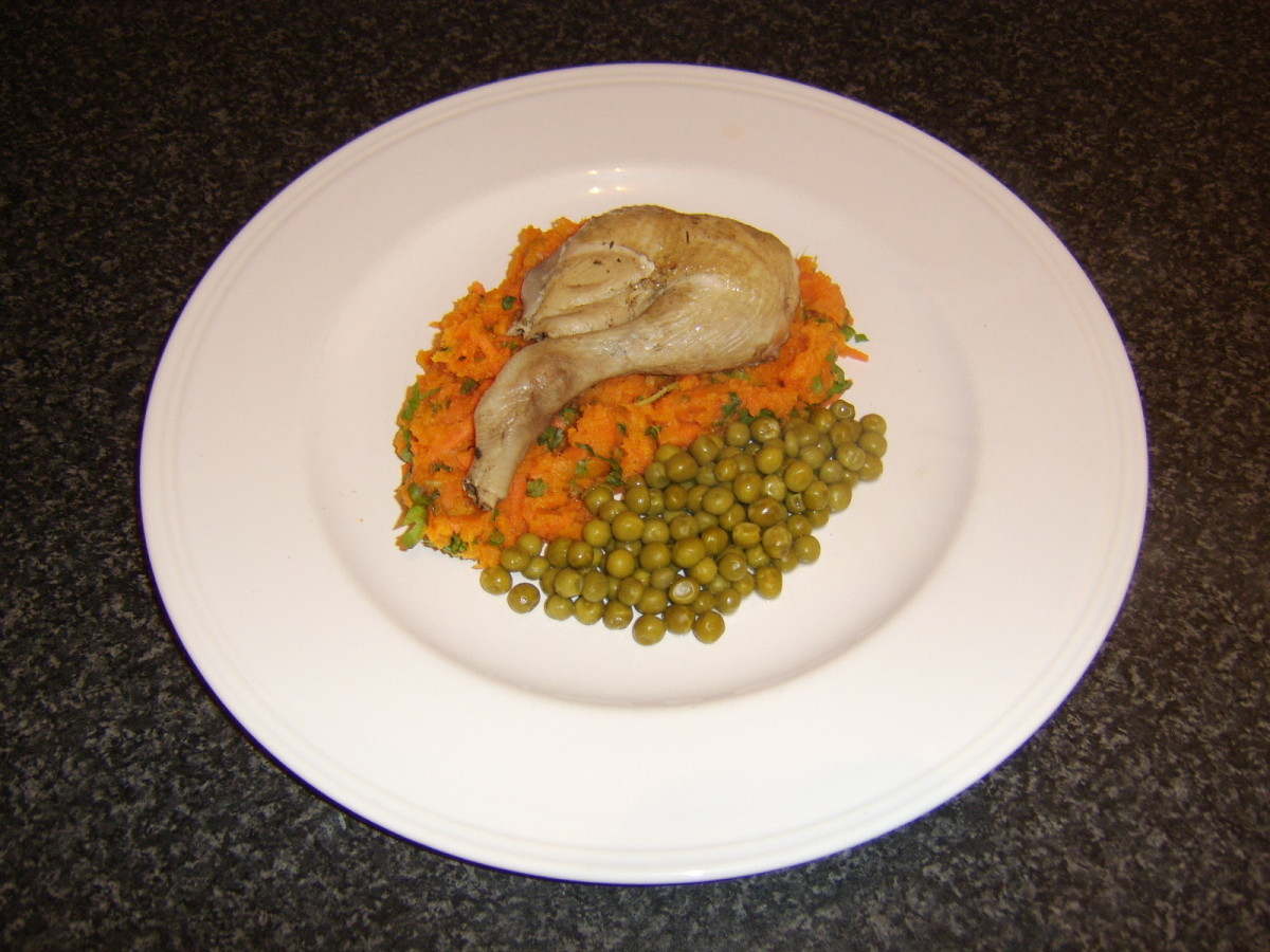Sweet Potato Mash with Carrot and Cilantro and Herb Poached Chicken Leg and Thigh