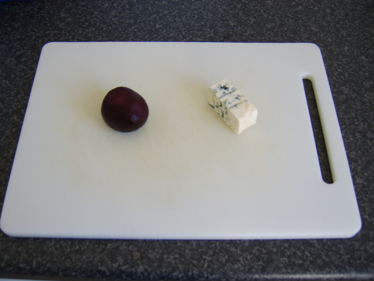 Cooked baby beetroot and blue cheese