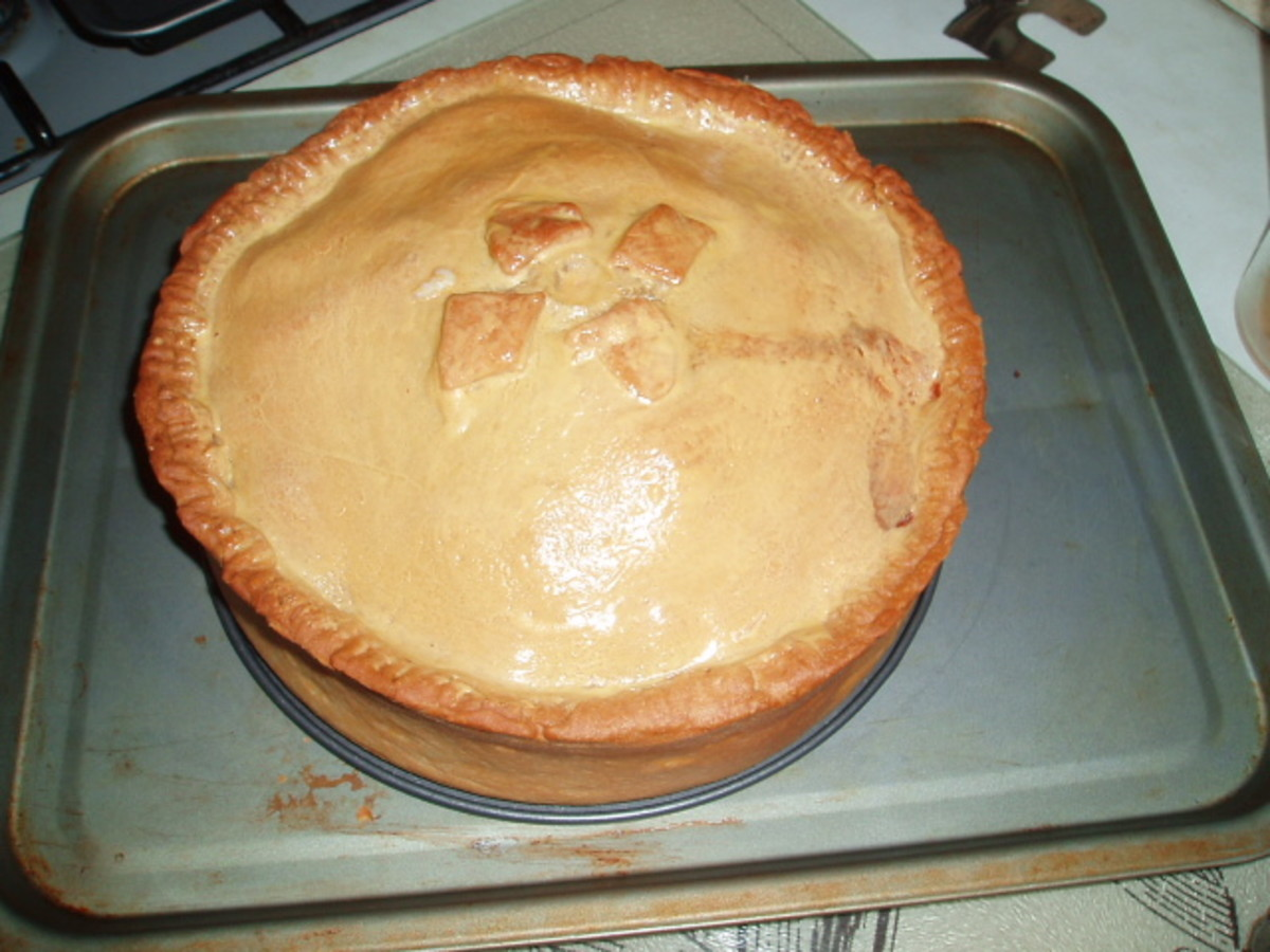 Chicken and Pork mince in Hot Water Dough Pie.