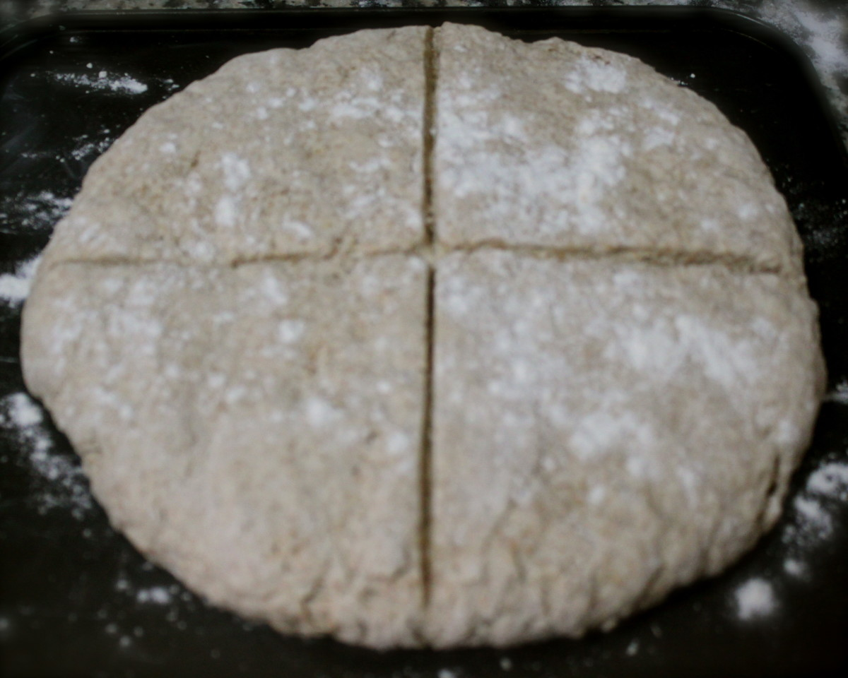 Dust with flour and make a cross, bake for 25 to 30 mins