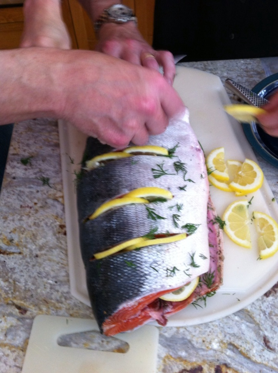 Slits filled with salt and pepper, dill and lemon