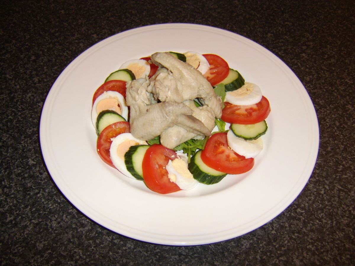 This delicious poached chicken wings summer salad is one of the recipes featured on this page