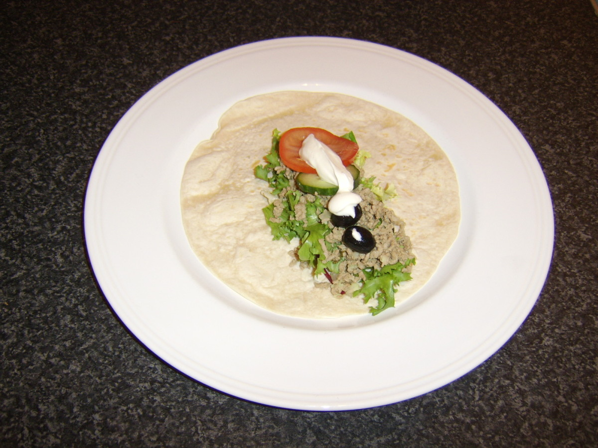 Add the filling options to your minted lamb salad wrap as shown.