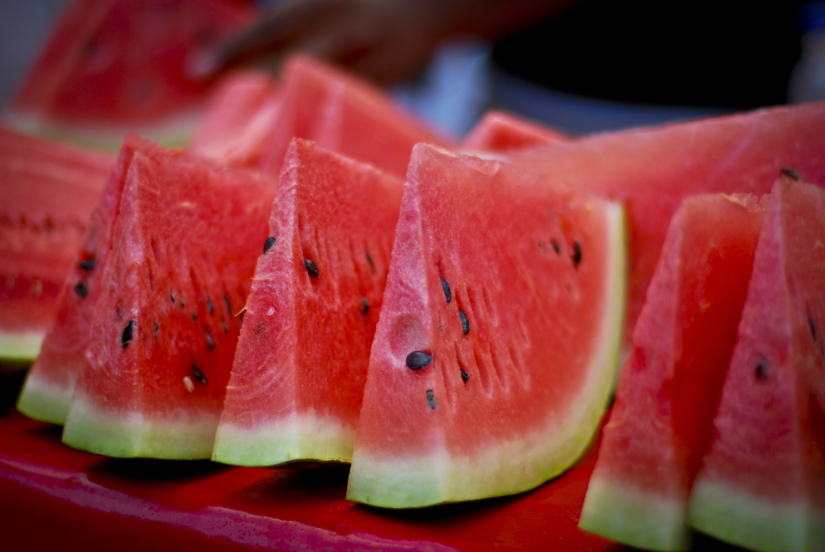 A sliced watermelon.