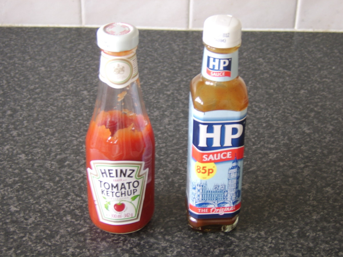 Tomato ketchup and HP Sauce are very popular condiments with a full English cooked breakfast
