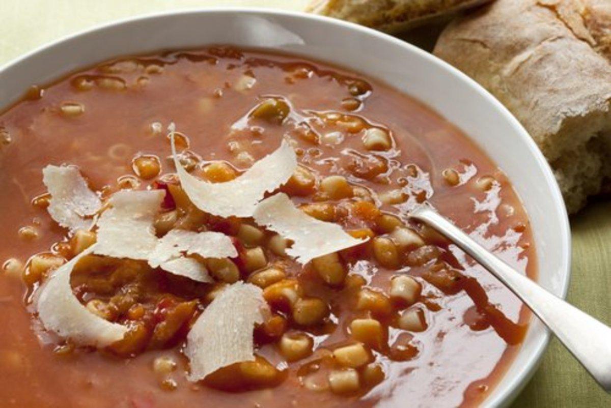 Minestrone with shaved parmesan.  Robyn Mackenzie|Shutterstock.com