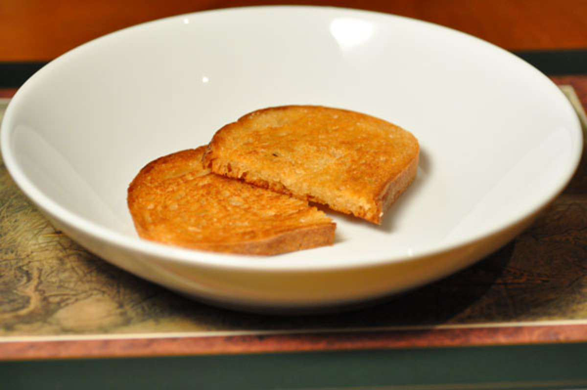 Fried bread ready for soup to be poured over. Image:  Siu Ling Hui
