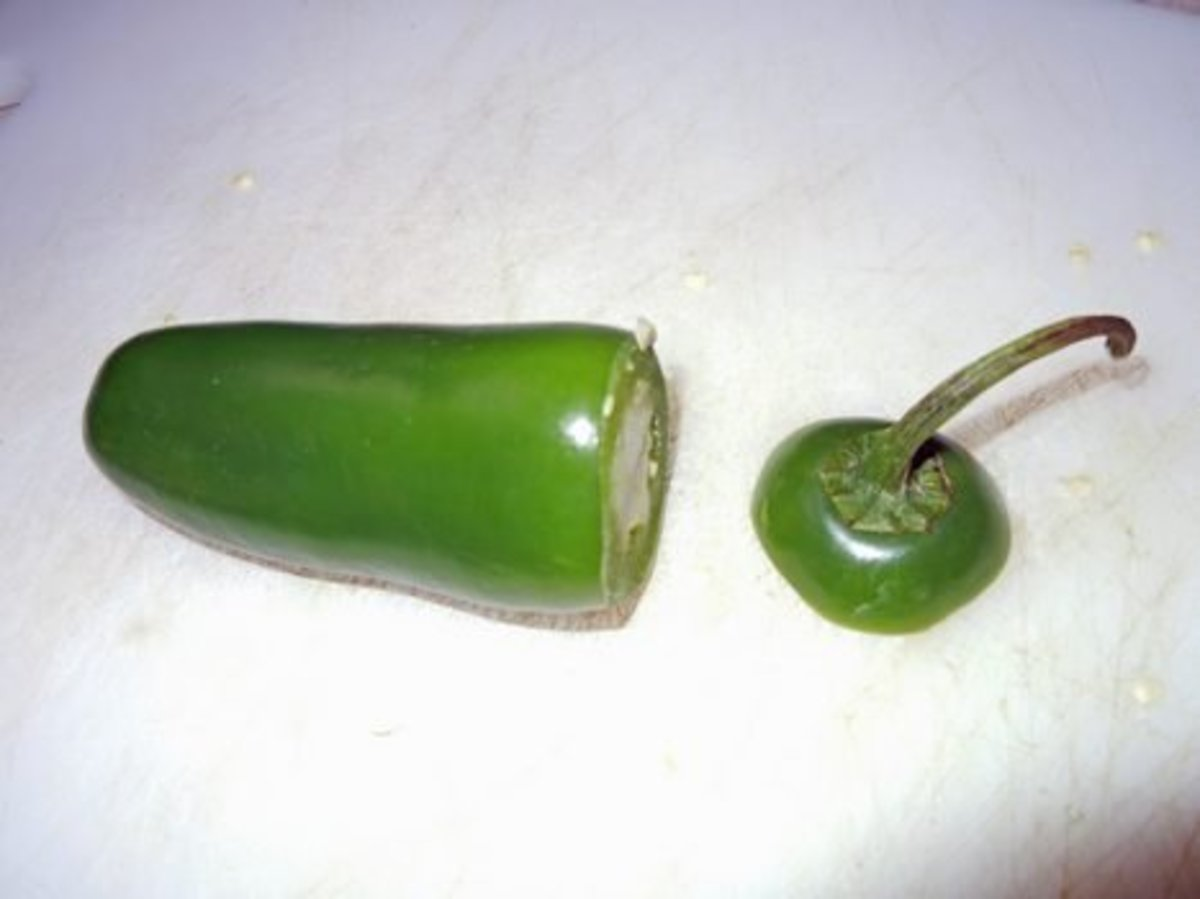 Cleaned Jalapeno with stem end removed