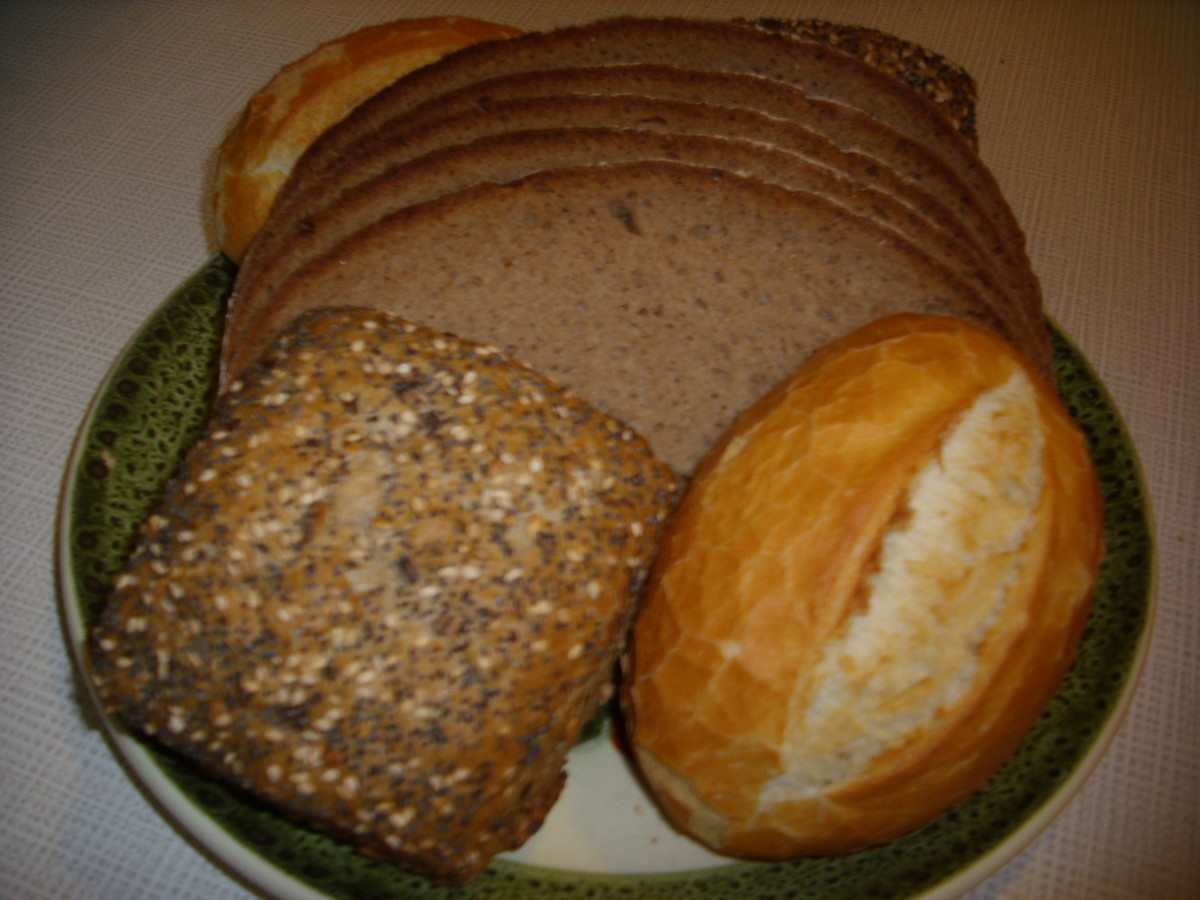 Bauernbrot ( farmers bread), rye bread roll and white bread roll