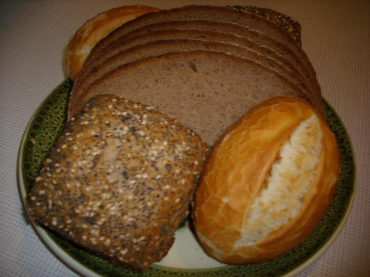 German brown bread, full corn and wheat bread rolls.