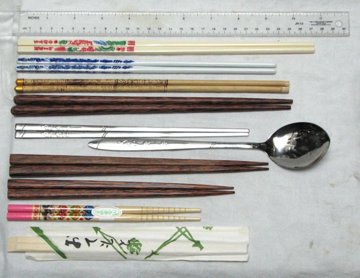 Chopsticks from Korea, Japan, and China.