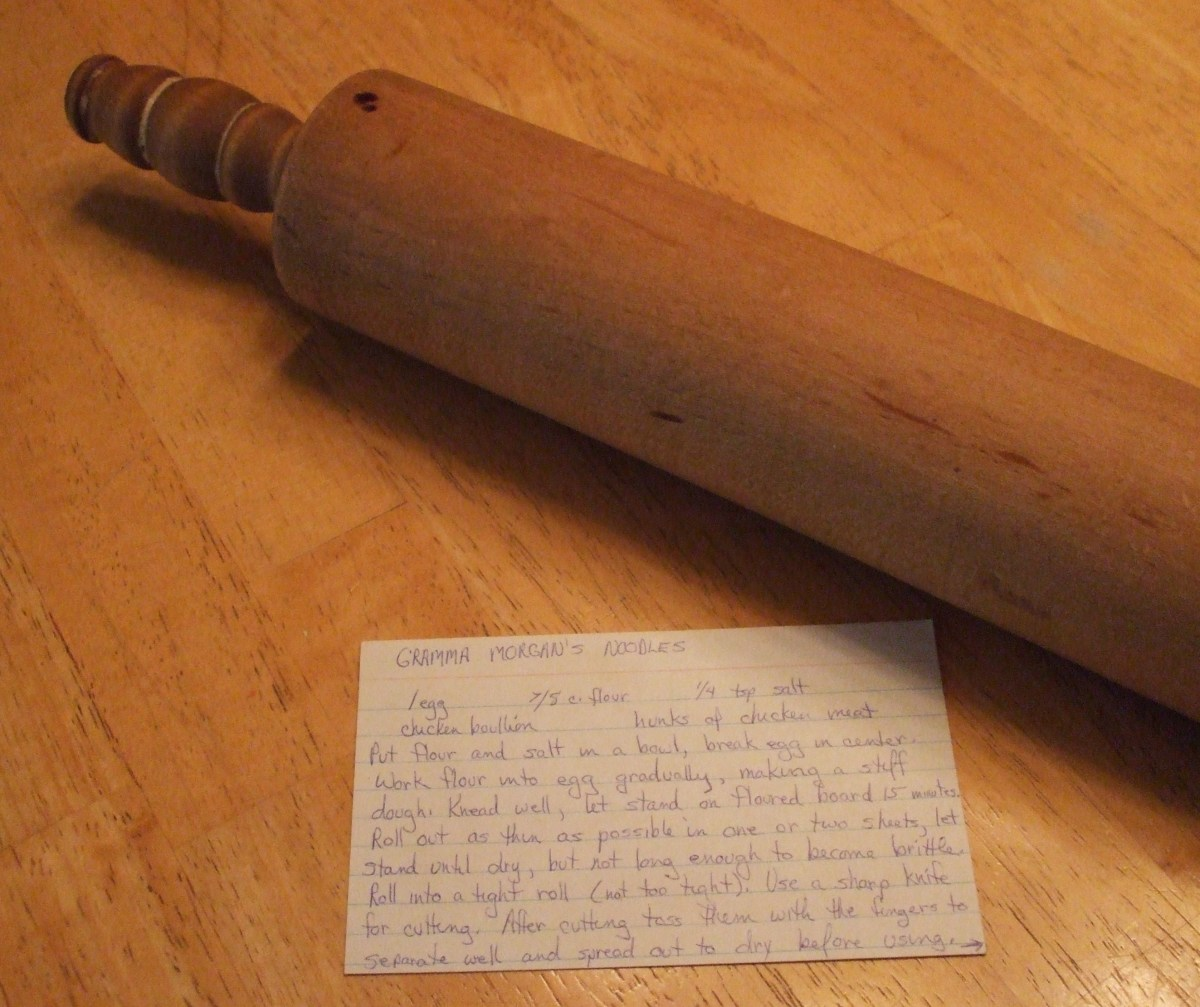My Gramma Anna Morgan's wooden rolling pin.  It is an heirloom.