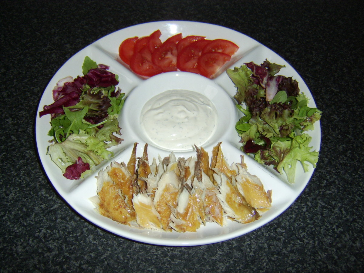 Smoked mackerel salad wrap platter