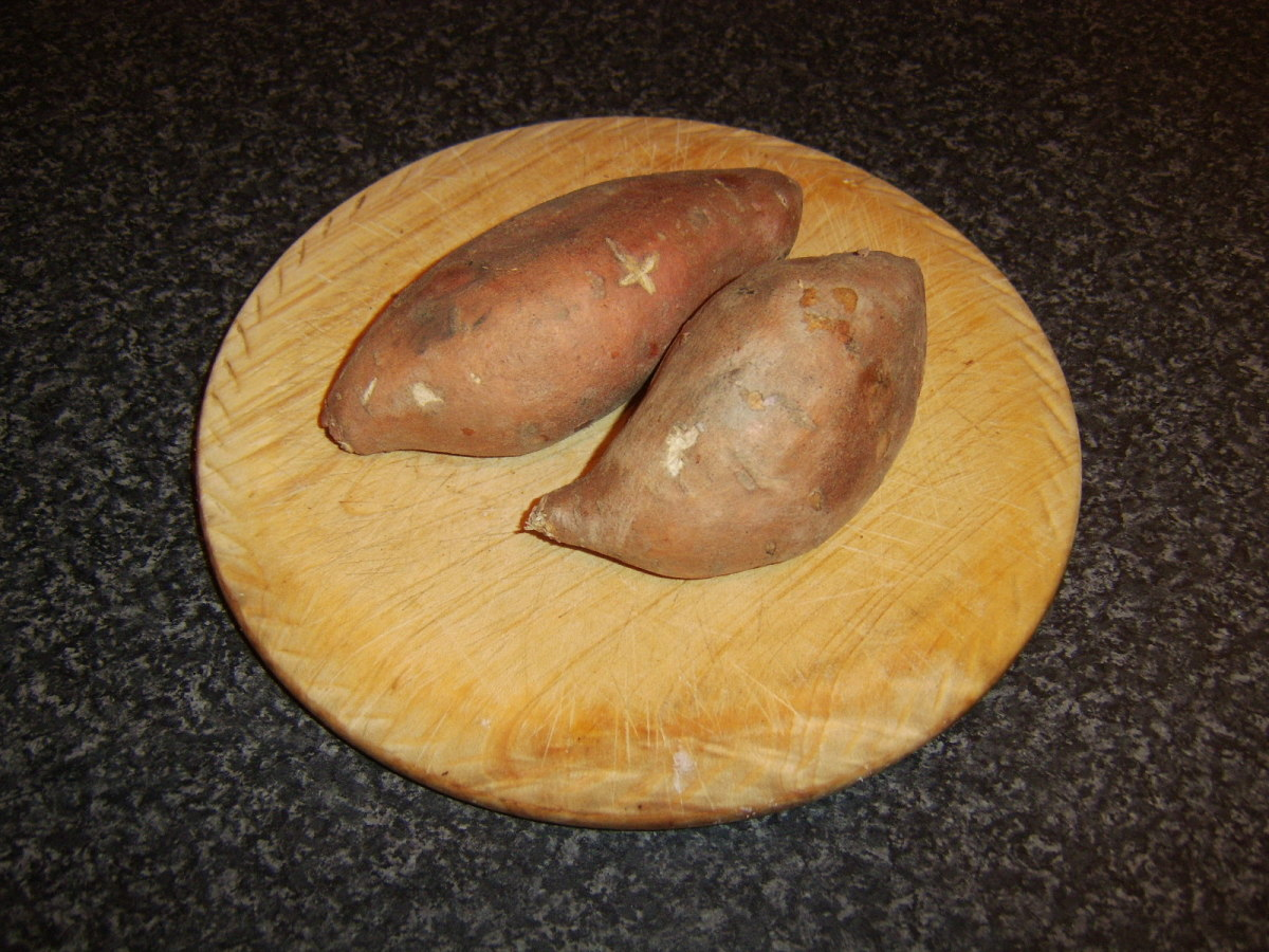 Two medium sweet potatoes like this will make one generous serving of sweet potato mash