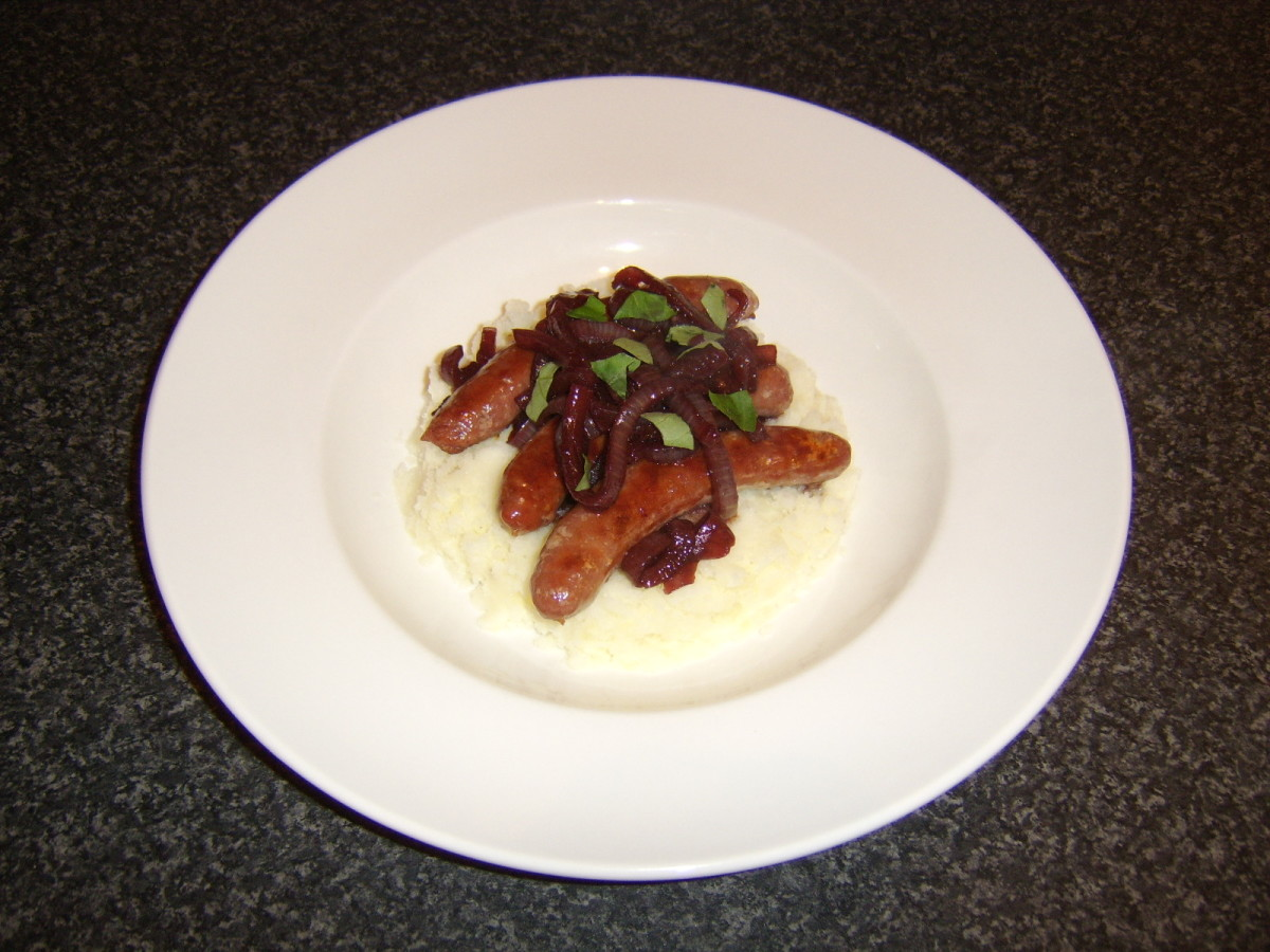 Traditional bangers and mash with an extra tasty twist