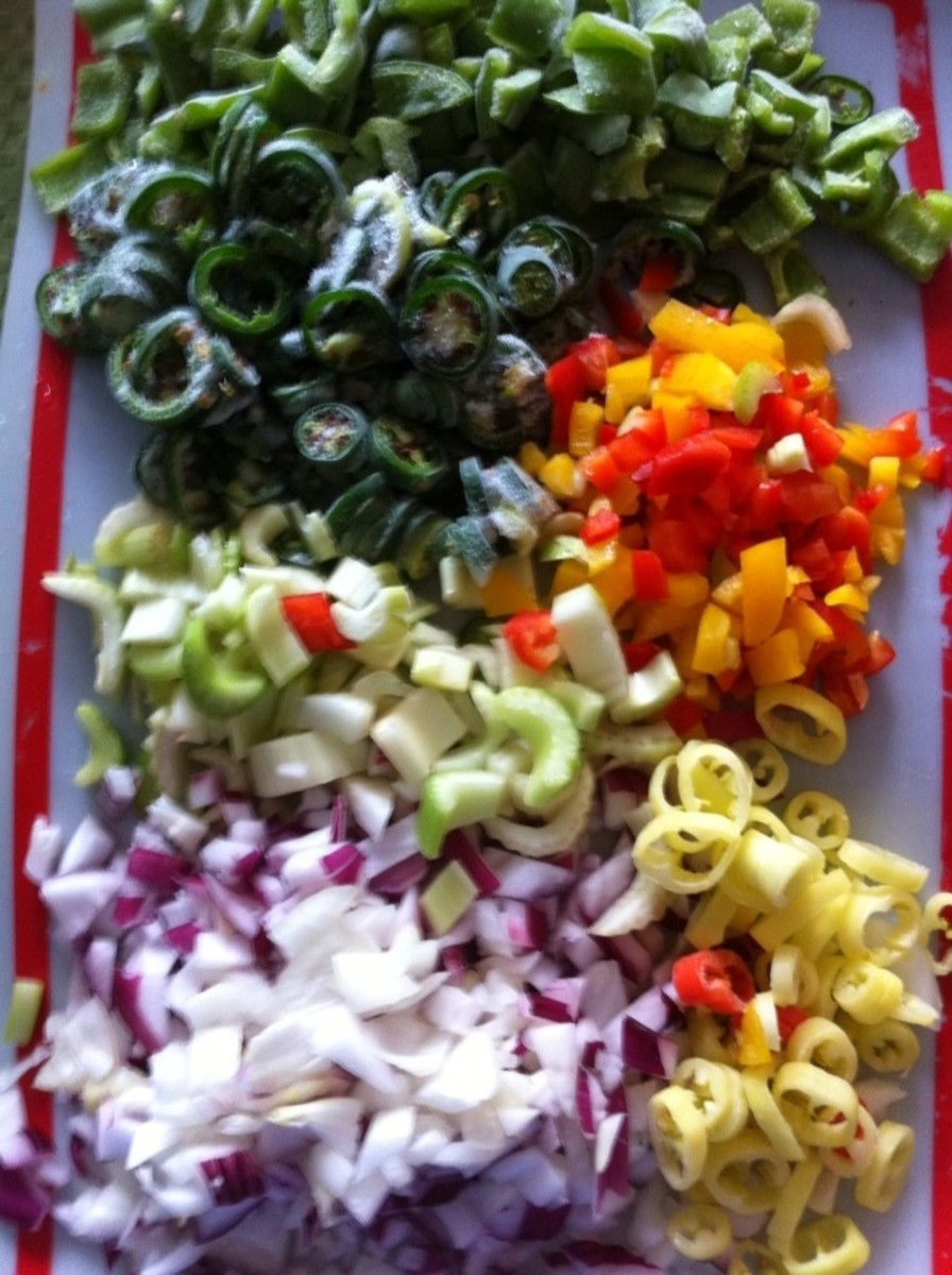 A sample of what goes into the salsa: red onion, sweet onion, banana peppers, green peppers, red peppers, orange peppers, yellow peppers, and celery