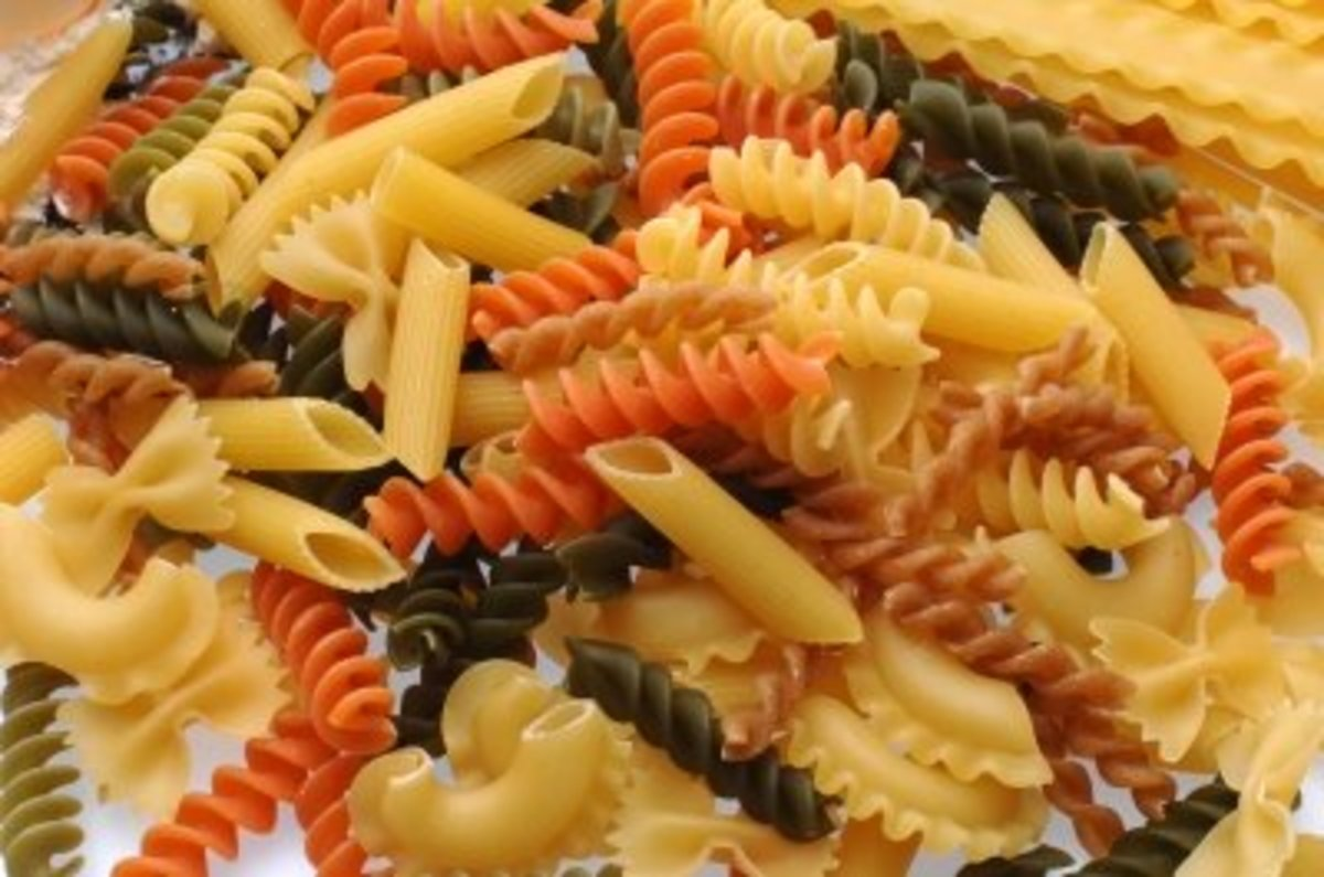Small, colorful pasta shapes are ideal for this recipe.