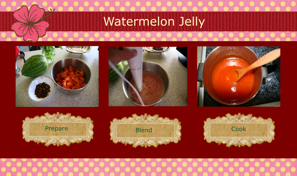 Three simple steps to making watermelon jelly.