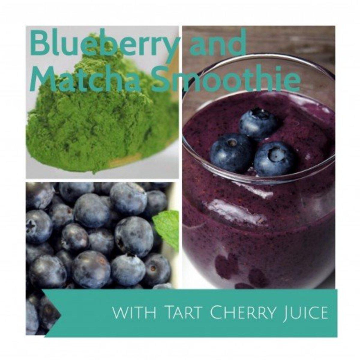 Blueberry, matcha and tart cherry juice smoothie!