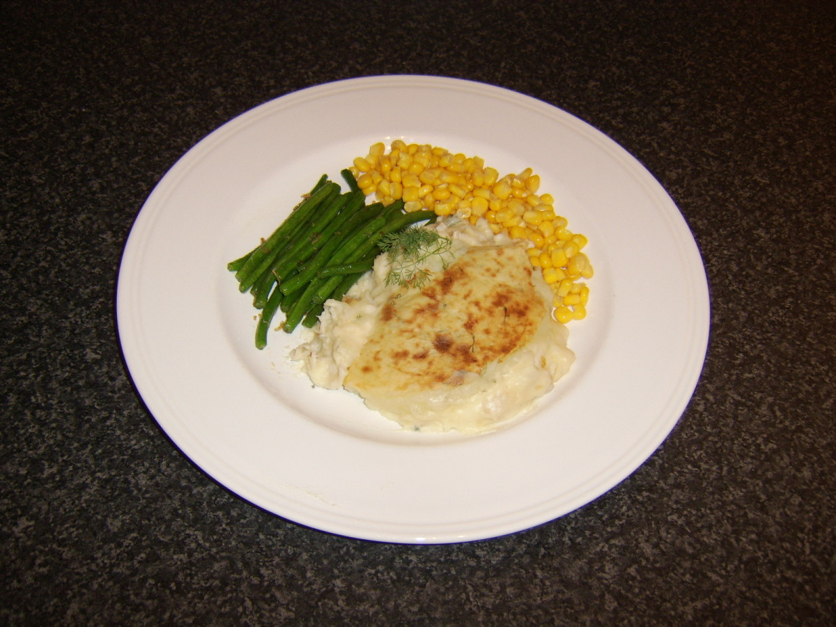 Really simple whiting fish pie with beans and sweetcorn