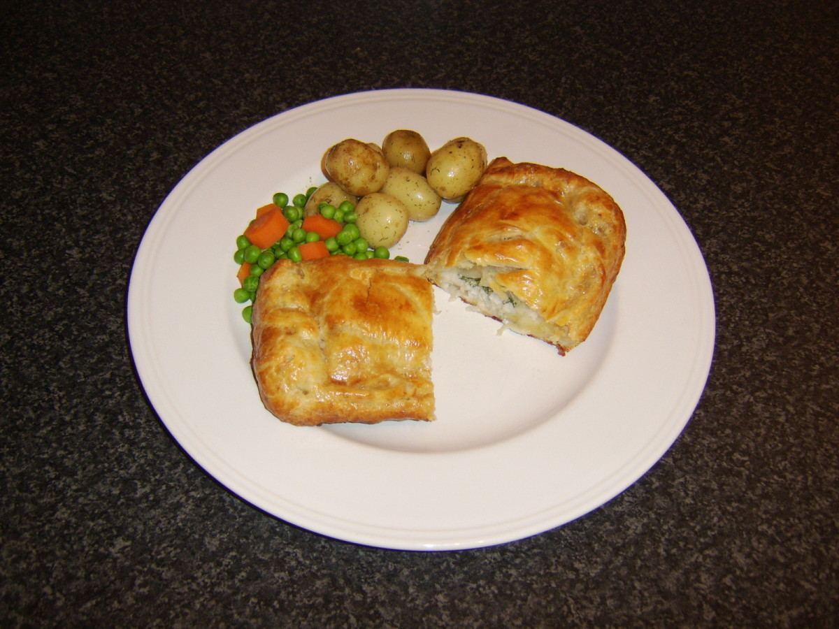 The whiting in the centre of the puff pastry is cooked to perfection