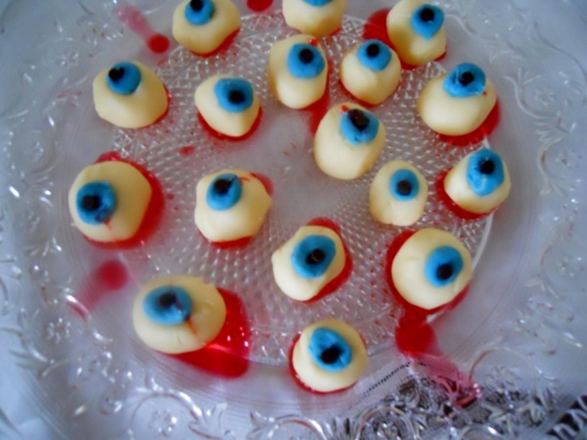 White chocolate eyeballs look icky . . . but good