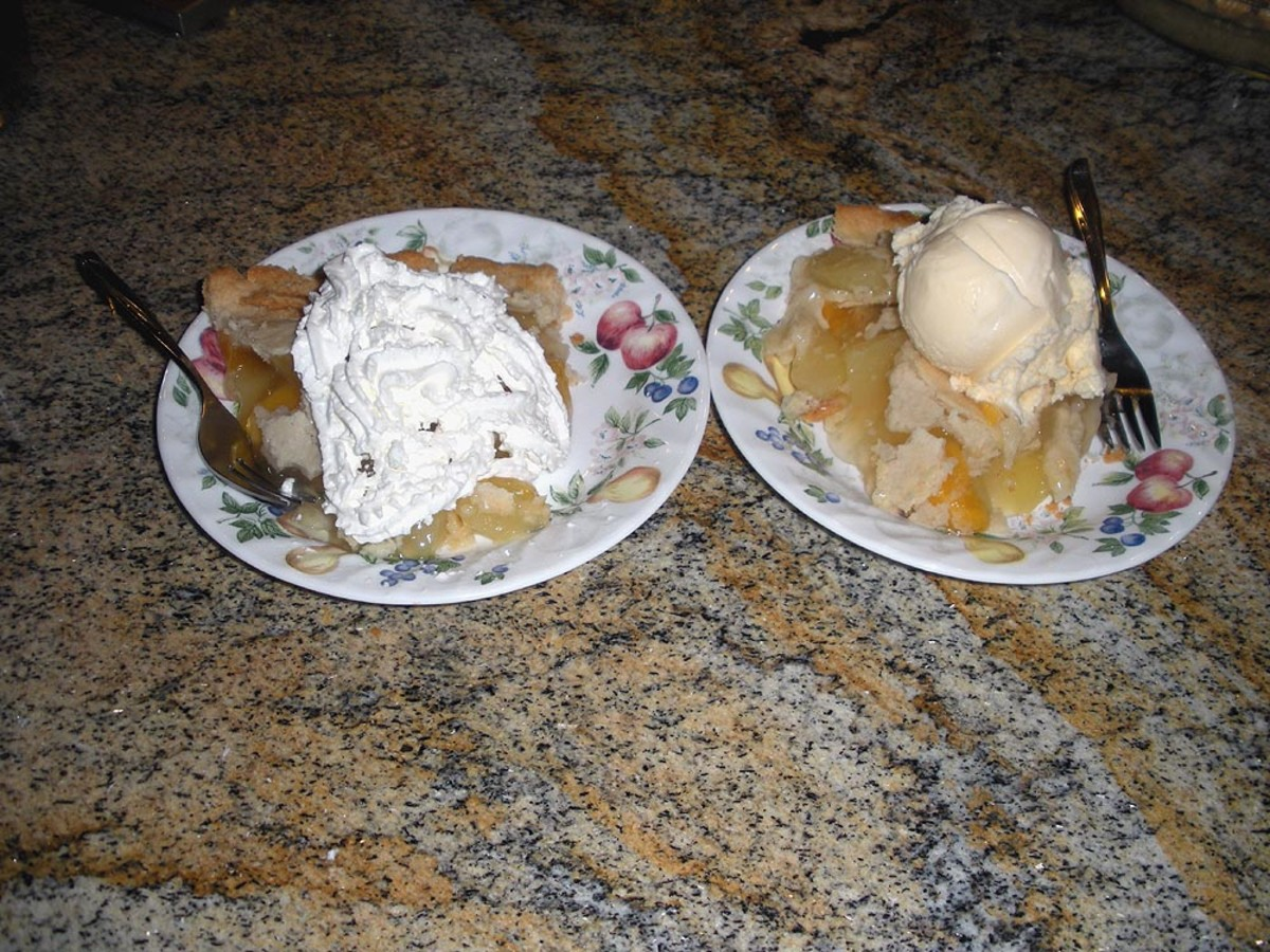 Yum, yum!  Ready to Eat--with whipped cream, left, and ice cream, right