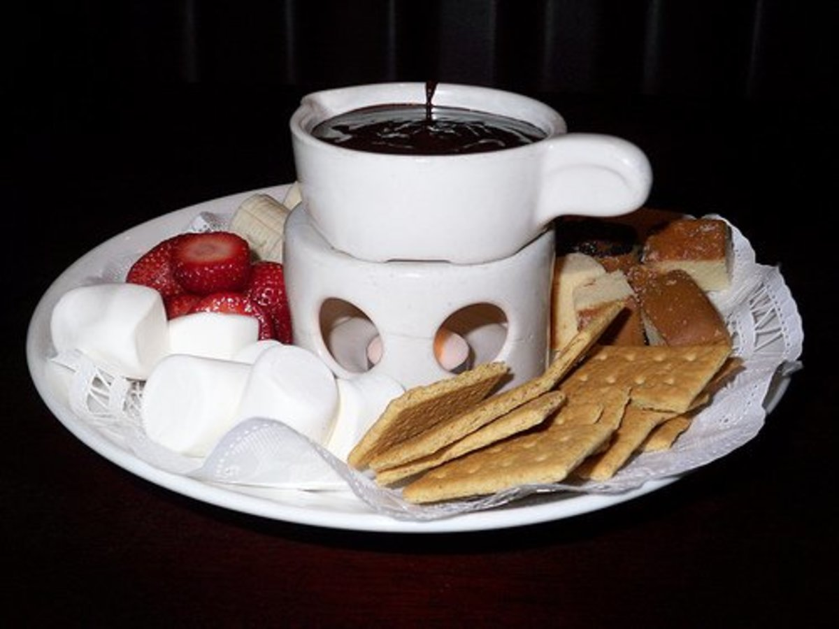 Chocolate Fondue with strawberries and S'mores