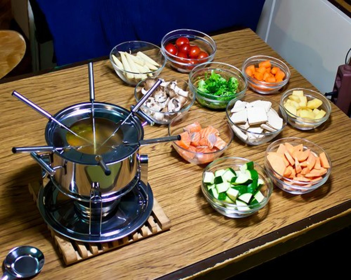 Oil fondue can be done with meat, vegetables, and fish.