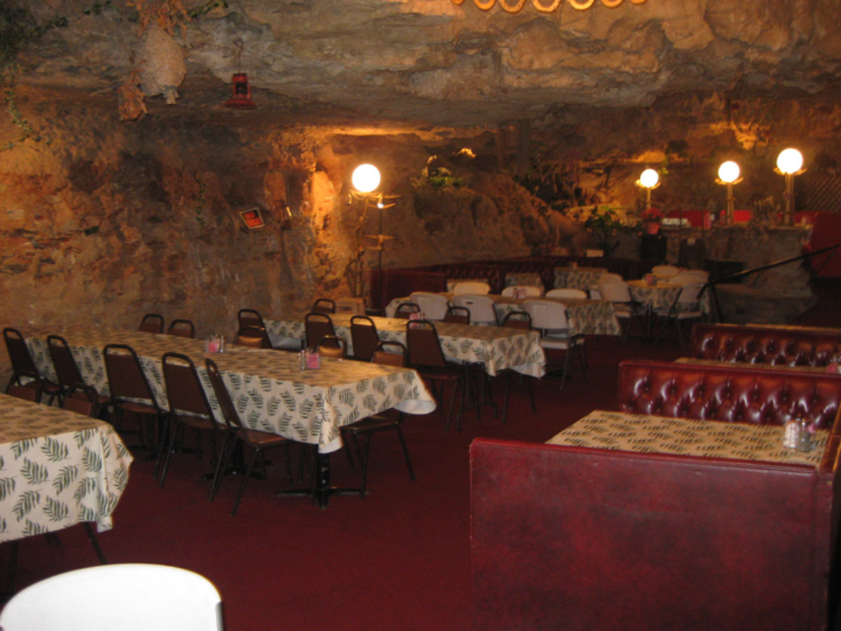 Dining in a cave.