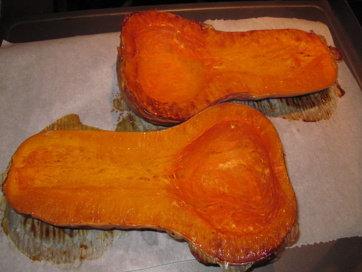 Butternut squash after roasting.