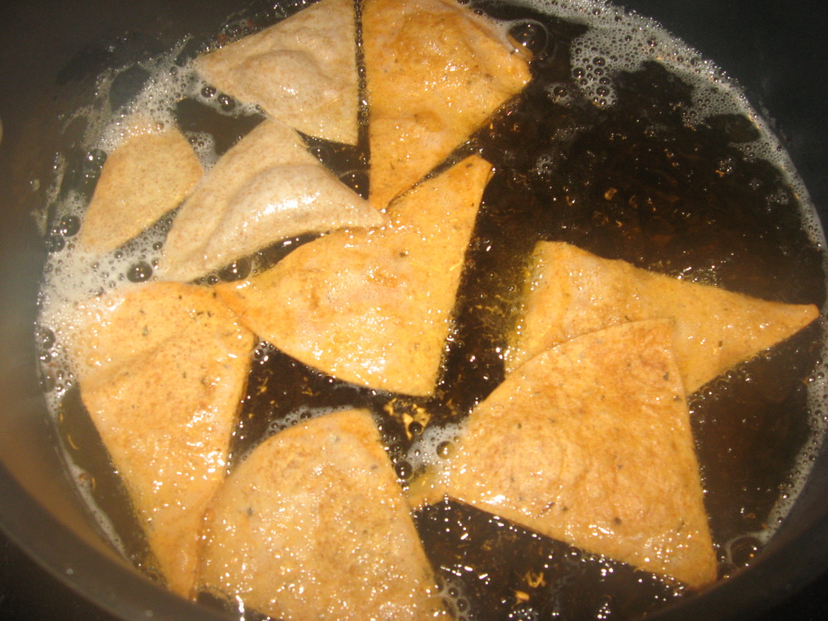 Don't crowd the low carb tortilla chips as they fry.