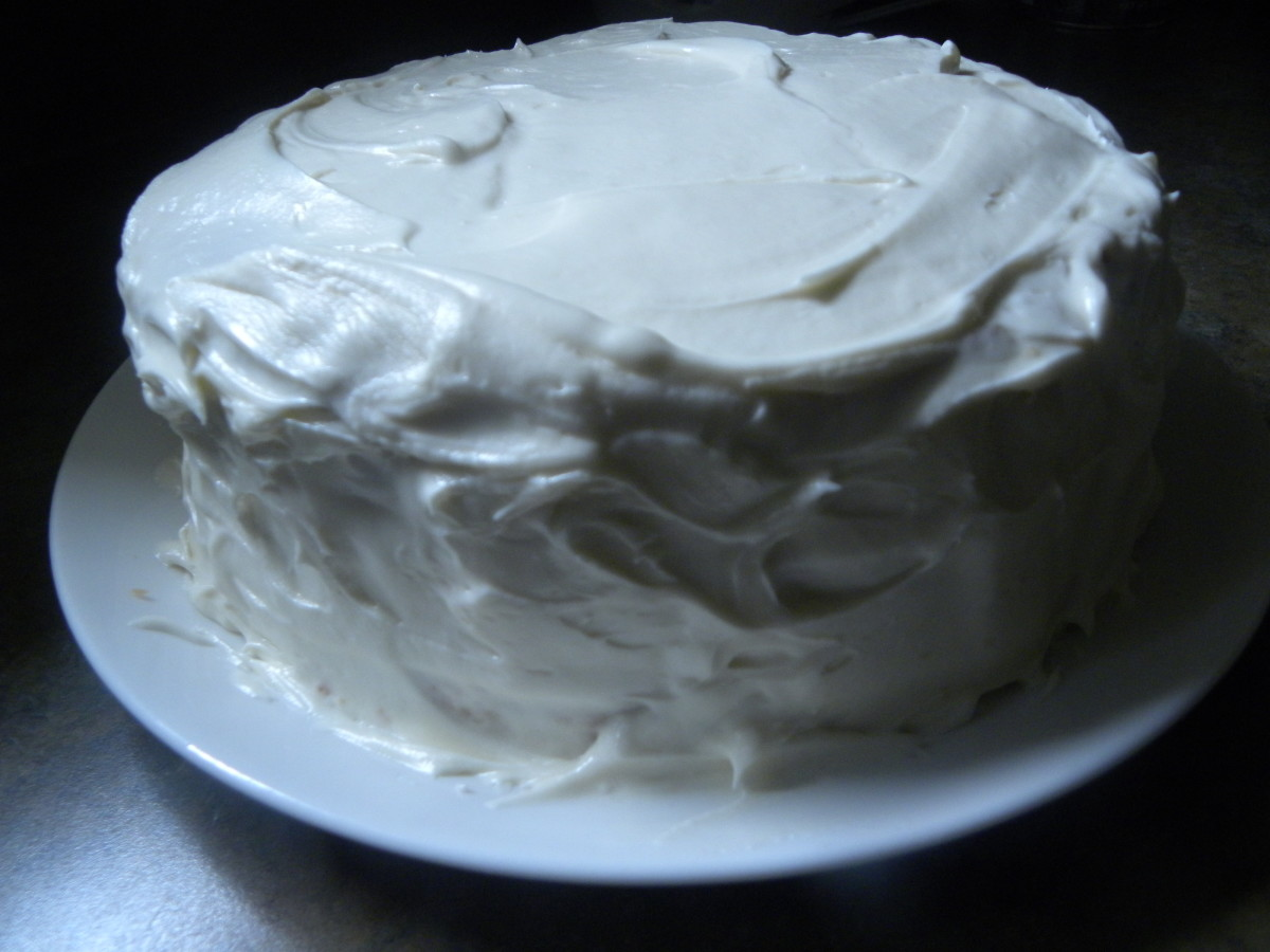 The frosted Italian Cream Cake.