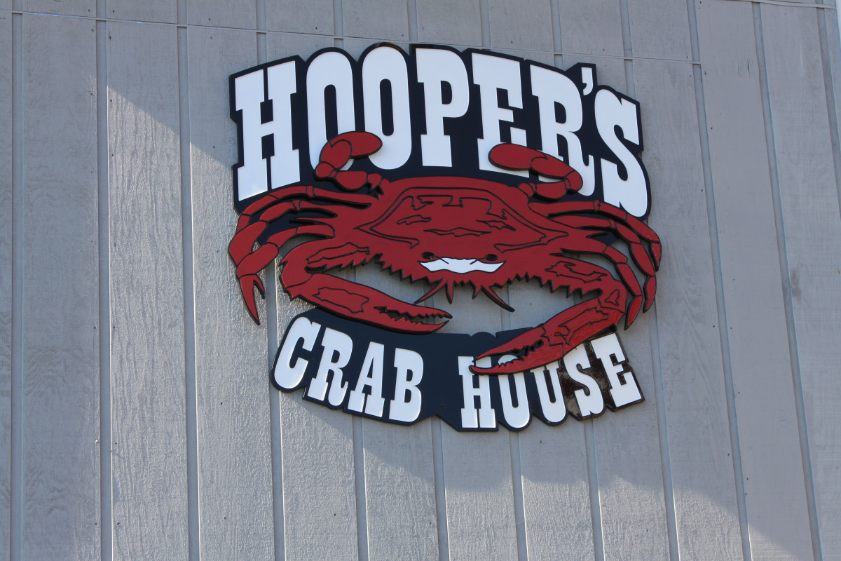 The sign outside Hooper's Crab House in Ocean City, MD