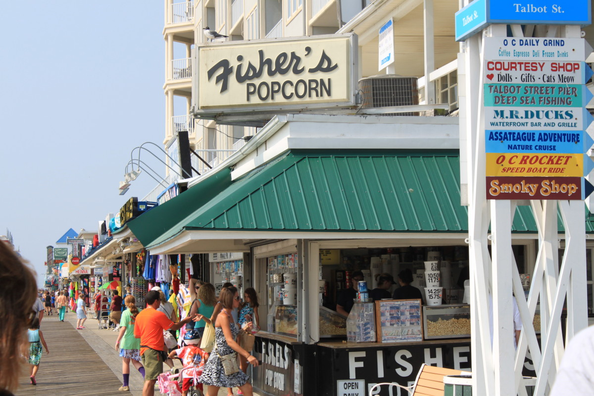 Fisher's Popcorn stand on the Boardwalk in Ocean City, MD