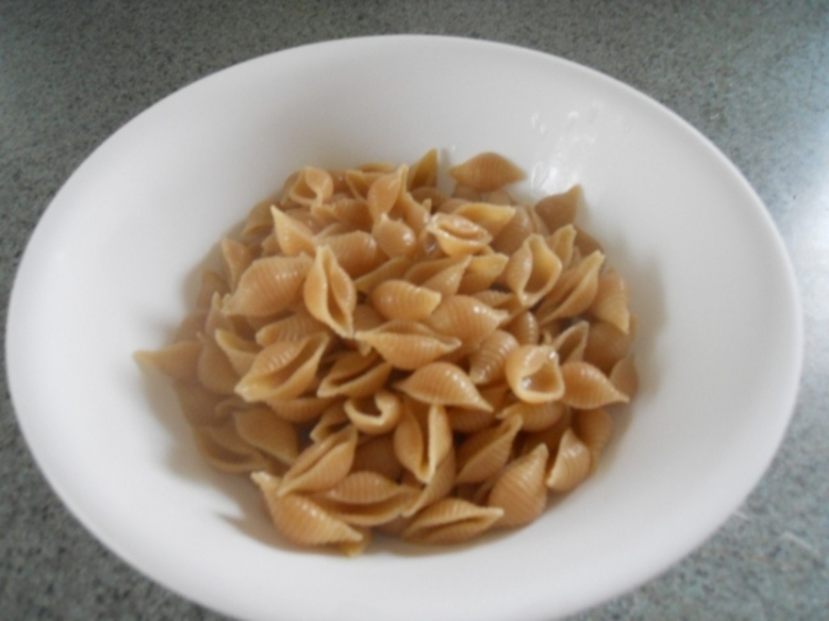 3 cups cooked, drained, small shell pasta